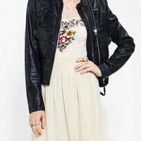 Urban Outfitters - Members Only Zip-Detail Vegan Leather Moto Jacket