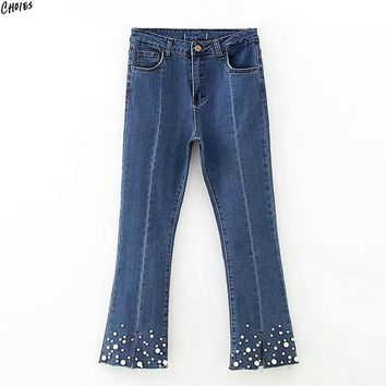 Women Blue Jeans Split Cuff Faux Pearl Embellished High Waist Silm Casual Autumn Calf Lenght Denim Flare Pant