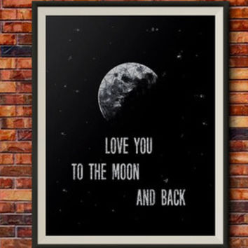Moon Print Watercolor, Love you to the moon and back print, Astronomy Wall art, Astronomy print
