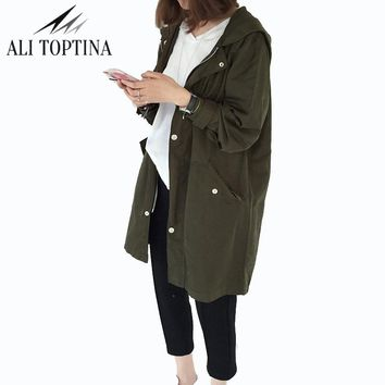 2018 New Spring Thin Basic Outerwear Design Hooded Coat Loose Fit Print Letter Street Women Trench Overcoat Fy14