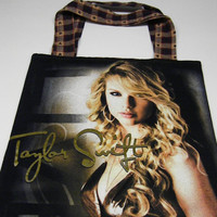 Upcycled Recycyled Purse Tote  Bag  Taylor Swift