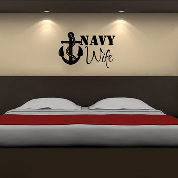 Military Navy Wife Sister Mom Dad Brother Girlfriend Vinyl Wall Words Decal Sticker
