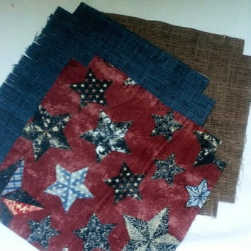 """Flannel rag quilt kit Patriotic stars theme Americana fringed die cut fabric squares batting complete ready to sew 52""""x 65.5""""."""