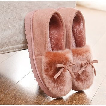 Winter Women House Slippers Fur Peas Warm Indoor Slippers Home Shoes Zapatillas Casa Mujer Thickened Soles Chaussons Pantufas