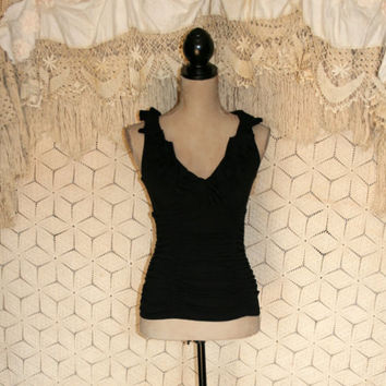 Black Top Black Sleeveless Top Edgy Top Club Top Sexy Top Black Bodycon Top Ruffled Ruched NWT Size 2 Top XS Top Extra Small Women Clothing