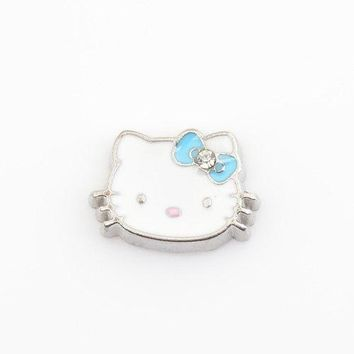 Blue Hello Kitty, Floating charms,Fit floating charm lockets, FC0072