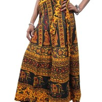 Indian Skirt Wrap Around Yellow Block Print Cotton Maxi Skirt Womans Mogul Boho