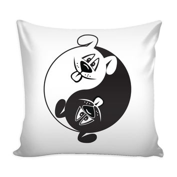Funny Yin Yang Dogs - Pillow Cover