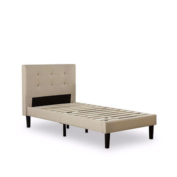 Twin size Contemporary Classic Taupe Fabric Upholstered Platform Bed with Tufted Headboard