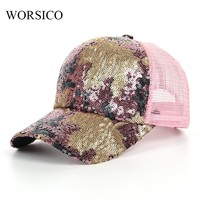 Snapback Baseball Caps Women 2017 Summer Fashion Brand Bling Sequin Mix Colorful Mesh Hats For Women Girl casquette gorras