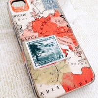 European Traveler iPhone 4 Case Vintage Map & Stamp by TracyReehal