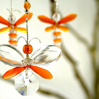 Firefly Decor Orange Butterfly Mobile Swarovski Crystal Suncatcher Kid Hanging Mobile Fairy Decor Hanging Butterfly Ornament Window Charm