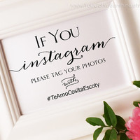 Instagram Wedding Sign - Lets Get Social - DIY Printable 5x7 sign in black - PDF template - Instant Download - ANITA Collection