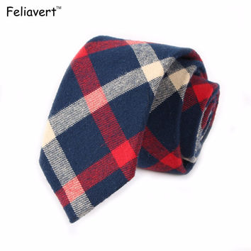 Hot Sale Fashion Mens Necktie 100% Cotton 6.5cm Skinny Tie Hand Sewing Men Casual Plaid Stripe 18 Style Neck Ties Free Shipping