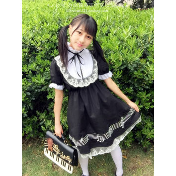 2 Designs Harajuku Musical Notes Lolita Maid Costume Summer Women Dress