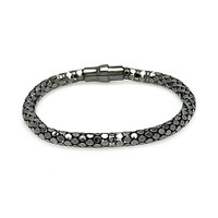 .925 Sterling Silver Black Rhodium Plated Snake Scale Italian Bracelet