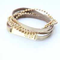 SPRING SALE - 20% OFF! Arm wrap - 3 times- Golden leather and 24k gold plated chain