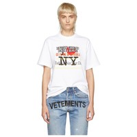 VETEMENTS Tide brand city limited chest letter slogan round neck short-sleeved T-shirt white