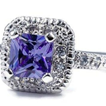 Classic Engagement Style Ring in Lavender Princess Cut Cubic Zirconia