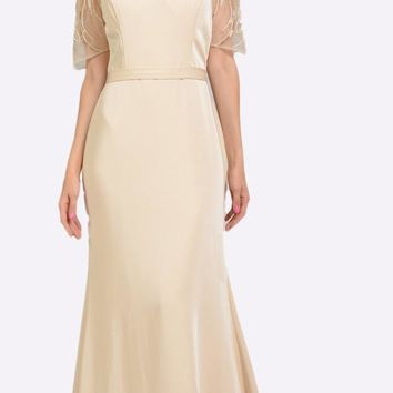 Sheer Embroidered Sleeves Fit and Flare Evening Gown Champagne