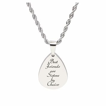 Teardrop Inspirational Tag Necklace - Best Friends