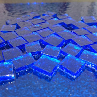 "Mosaic Tiles - Sapphire Blue Stained Glass - Hand Cut Square - 1/2"" / 1cm"