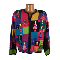Ugly Christmas Sweater Vintage Tacky Holiday Party Gem Multicolor Madness Women's Cardigan XL