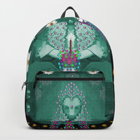 Temple of yoga in light peace and human namaste style Backpack by Pepita Selles