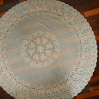 Round Tablecloth Ivory Lace Tablecloth Round Table Cloth Ivory Table Cloth Floral Tablecloth Afternoon Tea Floral Tablecloth Cottage Chic