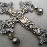 Antique Cross - OOAK Long Vintage Cross Necklace 1920s