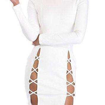 Women's Sexy Mini Club Dress Summer Bodycon Long sleeves Lace up