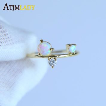 Unique design 2017 new Gold color rings,cz opal prong setting High quality delicate danity thin round band opal stone ring