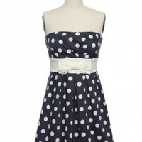 Whole Dot-a Love Dress in Navy | Vintage, Retro, Indie Style Dresses