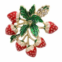 New Arrival Factory Direct Sale Enamel Strawberry Bouquet Brooch Pins For Women Free DHL/EMS Delivery Order $100+
