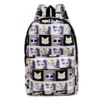 Cute Animal Cats Printed Canvas Backpack