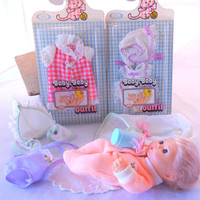 Baby Baby Doll, Ideal Toys, 1974, with 2 Sealed Outfits, Winking Eyes Sucking Action Mouth, Sleeper, Bottle, Bonnet, Sun Romper