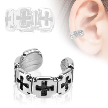 Stainless Steel Iron Cross Ear Cuff and Clip on Earrings