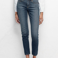 Women's Fit 2 Mid Rise Slim Leg Cropped Jeans - Medium Indigo Denim from Lands' End