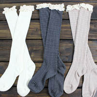 Womens Knit Legwarmers: Ivory Boot Socks, Long over the Knee Socks, Gray, Boot Socks with Lace, Knit Boot Socks, Stocking Stuffers