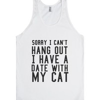 Date With My Cat-Unisex White Tank
