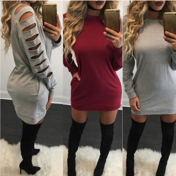 Solid Color Cut-Out Sleeve Sweater Dress
