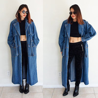 Vintage 80's trench coat overcoat jeans denim blue wash long