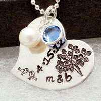 Personalized Wedding Necklace - Family Tree Anniversary Necklace - Hand Stamped Jewelry