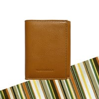 Toscanella Italian Leather Compact Trifold Wallet - Tan