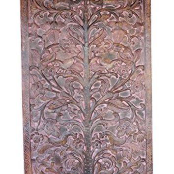 Artisan Vintage Hand Carved Door Panel Indian Art - TREE OF Dreams- Wall Hanging , Eclectic Interior Design