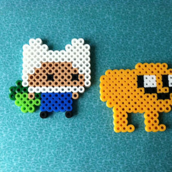 Kawaii Perler Bead Finn and Jake