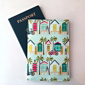 Travel Passport Cover, Vacation Passport Holder, Passport Wallet, Passport Case, Beach Passport Cover, Passport Holder Women Fabric Passport