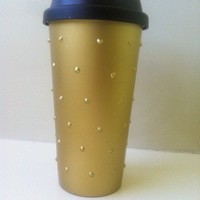 Matte Gold Spiked Hot Beverage Tumbler from embri