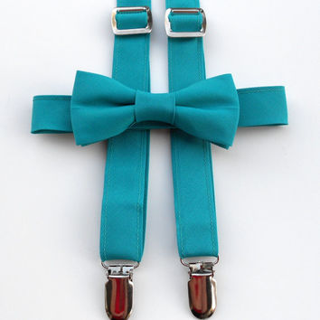 Teal Bowtie and Suspender Set - Infant, Toddler, Boy