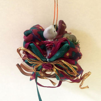 Teddy Bear Wicker Sleigh - Christmas Ornament - Unique Handmade Vintage - Inexpensive Christmas Decoration - Holiday Decor - 1980